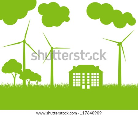 Green Eco city ecology vector background concept with wind generators