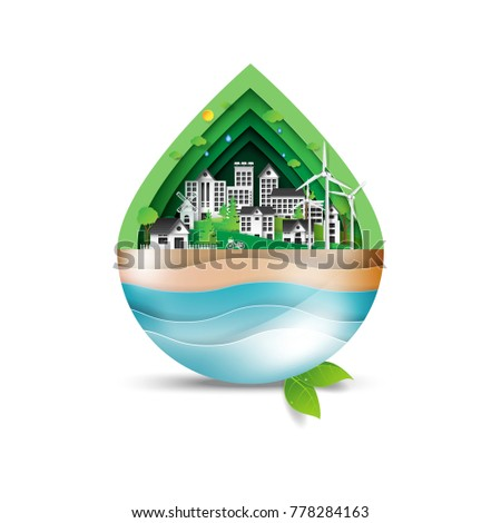 Green eco city in shape of water drop.Environment and ecology conservation concept idea in paper art style.Vector illustration.