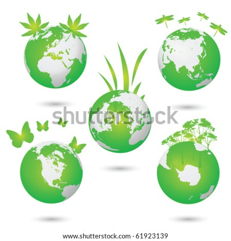 Green Eco earth vector globes collection