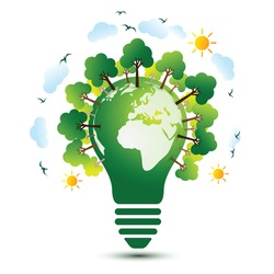 Green Eco Earth with light bulb ecology concept ,vector illustration