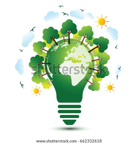 green eco earth with light bulb