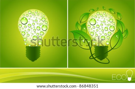 Green Eco Energy Concept, plant growing inside the light bulb. Graphic Design Editable For Your Design.