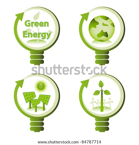 Green eco energy design concepts - green renewable energy, green earth, solar energy, wind energy.