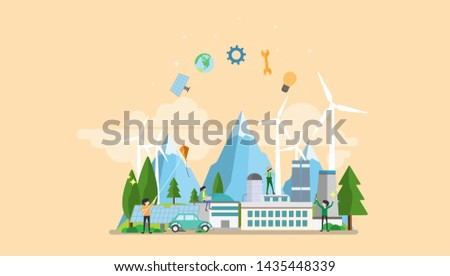 Green Eco Factory Tiny People Character Concept Vector Illustration, Suitable For Wallpaper, Banner, Background, Card, Book Illustration, Web Landing Page, and Other Related Creative