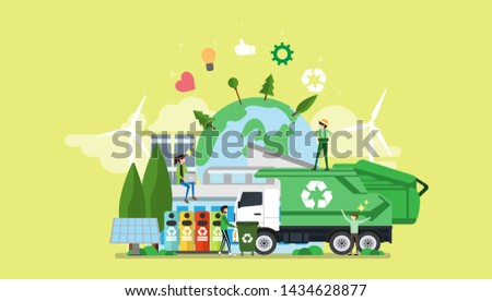 Green Eco Friendly City Tiny People Character Concept Vector Illustration, Suitable For Wallpaper, Banner, Background, Card, Book Illustration, Web Landing Page, and Other Related