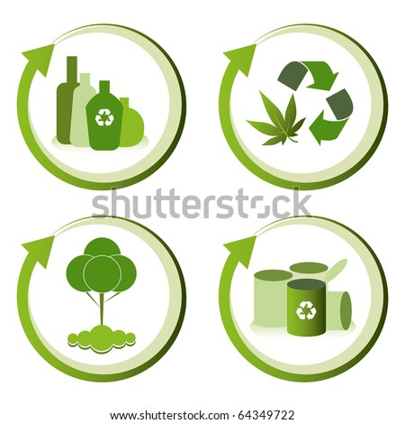 Green eco friendly design concepts - bottle recycling, green waste recycling, tree conservation, can recycling.