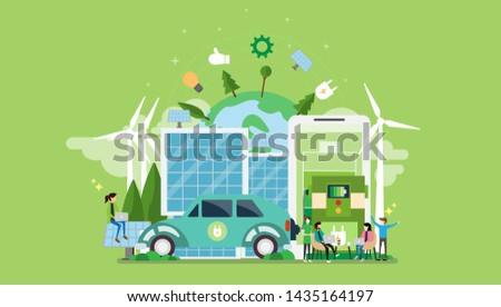 Green Eco Friendly Lifestyle Tiny People Character Concept Vector Illustration, Suitable For Wallpaper, Banner, Background, Card, Book Illustration, Web Landing Page, and Other Related Creative