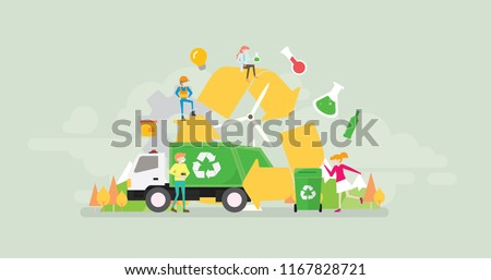 Green Eco Friendly Waste Recycling Technology Lifestyle Tiny People Character Concept Vector Illustration, Suitable For Wallpaper, Banner, Background, Card, Book Illustration, And Web Landing Page