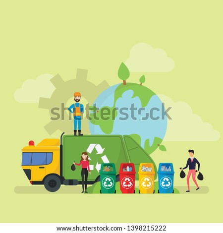 Green Eco Friendly Waste Recycling Technology Lifestyle Tiny People Character Concept Vector Illustration, Suitable For Wallpaper, Banner, Background, Card, Book Illustration, And Web Landing Page - V