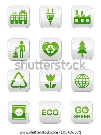 Green eco glossy buttons set