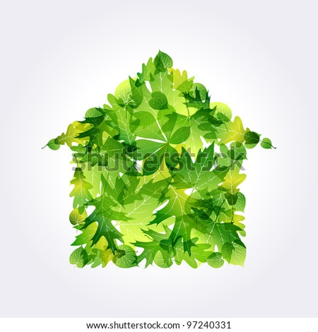 Green Eco house icon made of leaves. EPS10 - stock vector