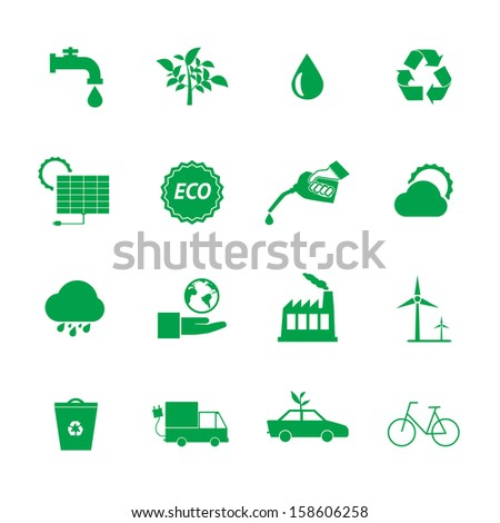 Green Eco icons set.