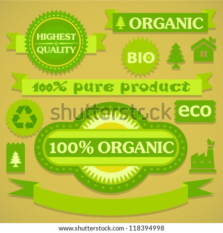 Green eco labels and stickers on craft paper