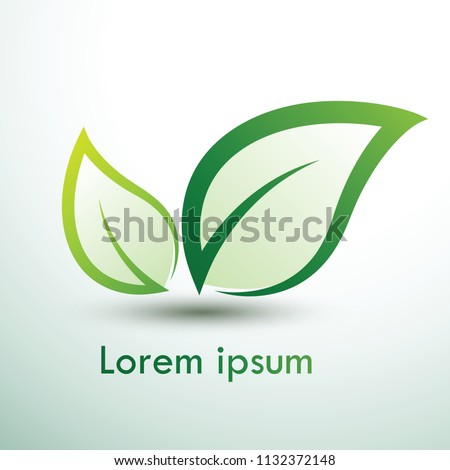 Green eco labels concept with leaves,vector illustration