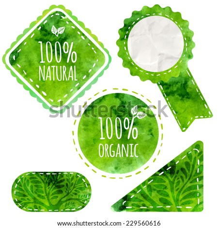 green eco labels with text 100