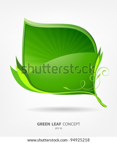 Green eco leaf concept, vector illustration