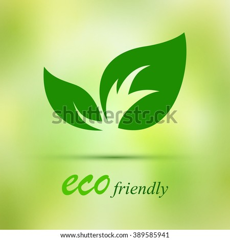 green eco leaves on a green