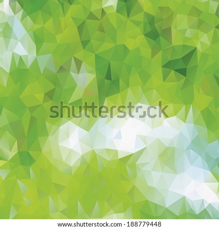 Green eco pattern of geometric shapes. Spring mosaic banner. Geometric triangle vector hipster background.