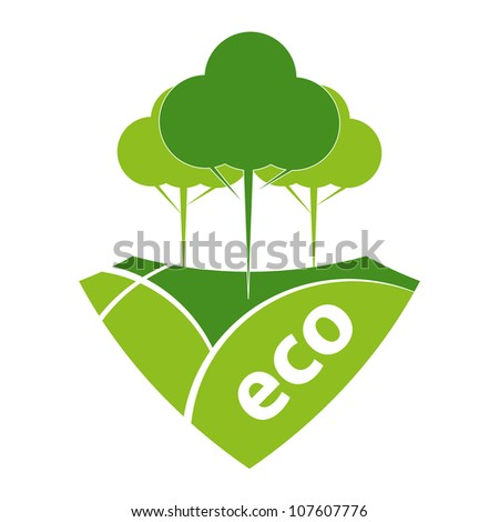 Green ECO reforestation concept. Green forest and pasture.
