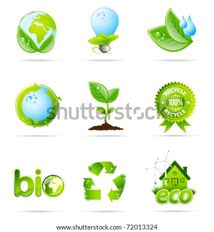 green eco shiny icon collection