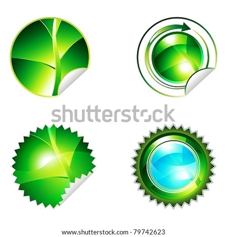 Green eco shiny sticker with leaf elements icon collection, eps10 vector illustration