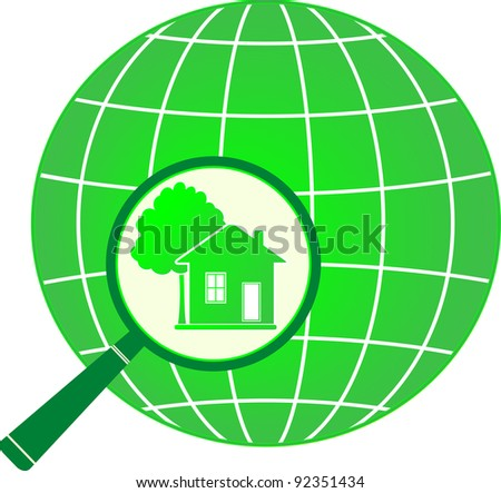 green eco symbol planet with house and tree in magnifier