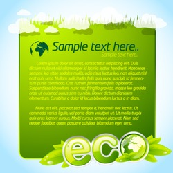 Green eco template with clouds