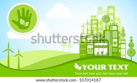 Green eco town widescreen 16x9 placard with icons. Image contains transparency, EPS10
