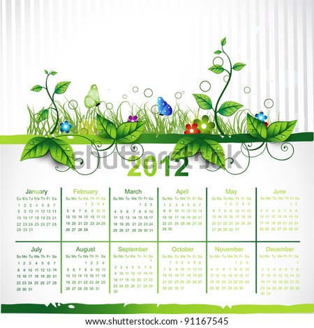 green eco vector calender design