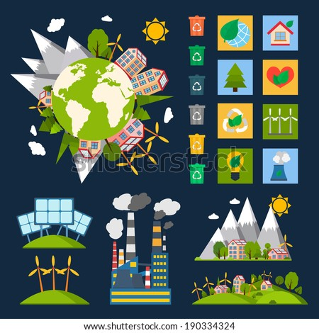 green eco world ecology symbols