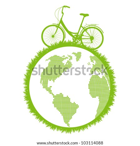 Green ecological bicycle driving planet vector background concept