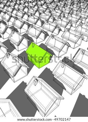 green ecological house standing out from others - stock vector