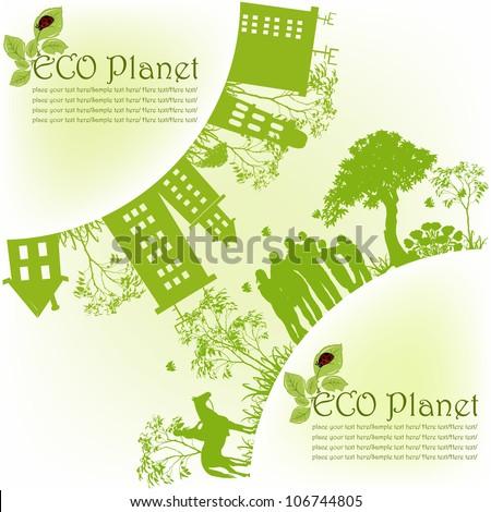 Green ecological planet - stock vector