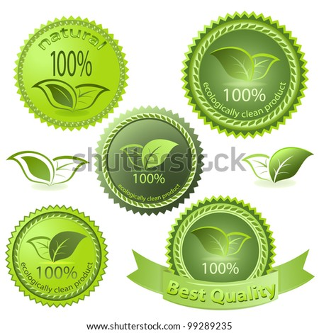 Green ecological vector tags isolated on white background. - stock vector