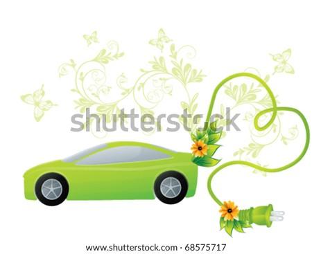 Green ecology car, vector