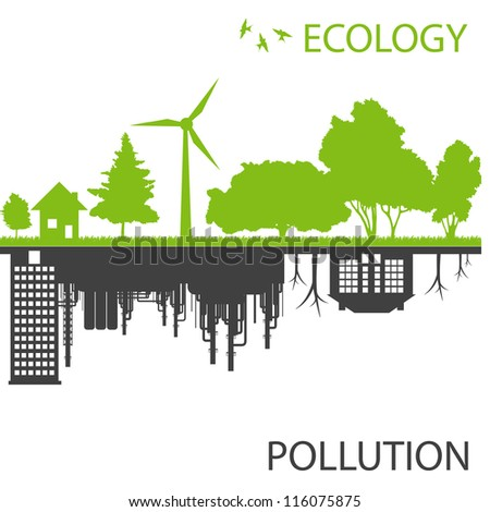 Green ecology city against pollution vector background concept