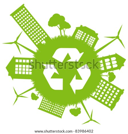 Green ecology energy planet vector concept with recycling arrows