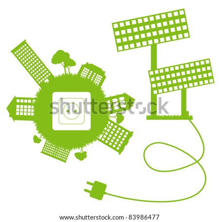 Green ecology energy planet vector concept with socket, plug and solar panels