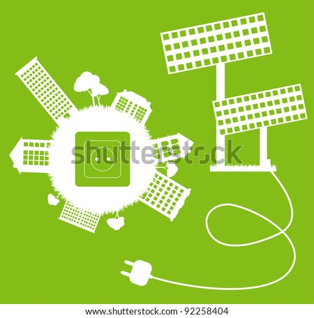 Green ecology energy planet vector concept with socket, plug and solar panels for poster