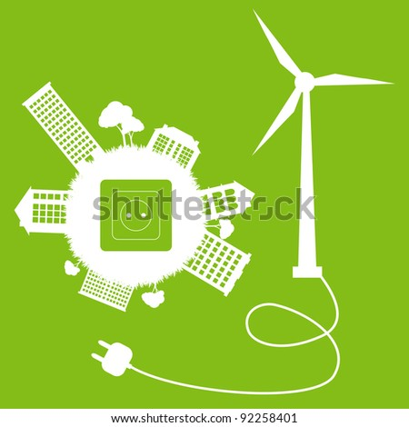 Green ecology energy planet vector concept with socket, plug and wind generator for poster