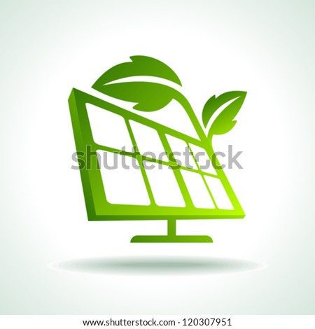 Green ecology energy planet vector concept with solar panels
