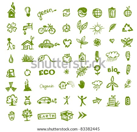 Green ecology icons for your design - stock vector