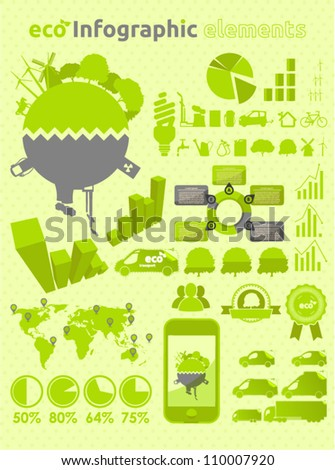 Green ecology infographic  collection