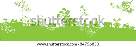 green ecology landscape with