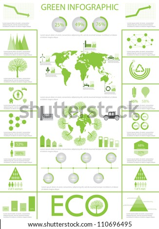Green ecology, recycling info graphics collection, charts, symbols, graphic vector elements - stock vector