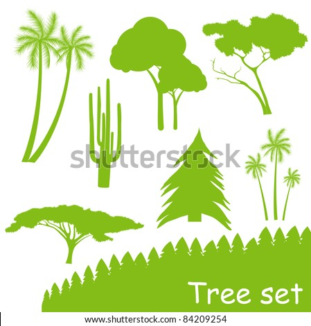 Green ecology tree vector set