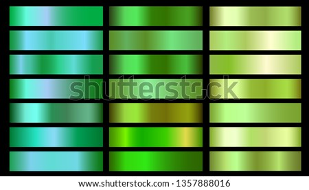 Green ecology vector gradients set. Glossy shin nature green gradient colorful illustration gradation for backgrounds, banner, user interface, flyers, cards
