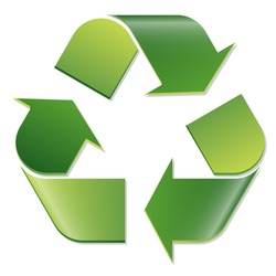 green economic recycle sign on white background