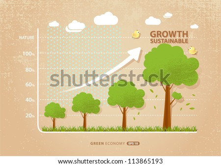 green economy concept : graph of growing sustainable environment with business