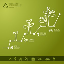 Green economy concept - Leafs and tree infogaphics